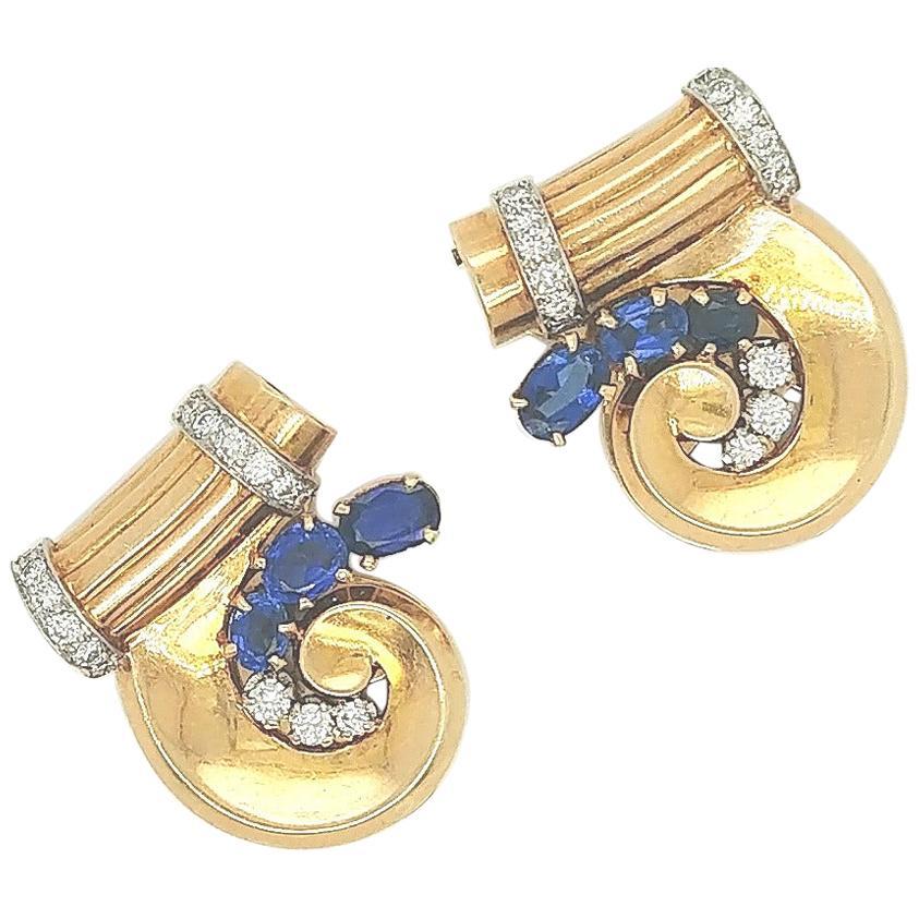 Tiffany & Co. 14 Karat Yellow Gold Retro Sapphire and Diamond Duet Dress Clips