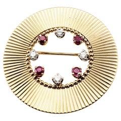 Tiffany & Co. 14 Karat Yellow Gold Ruby and Diamond Brooch/Pin
