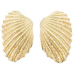 Tiffany & Co. 14 Karat Yellow Gold Scallop Shell Earrings, circa 1960s