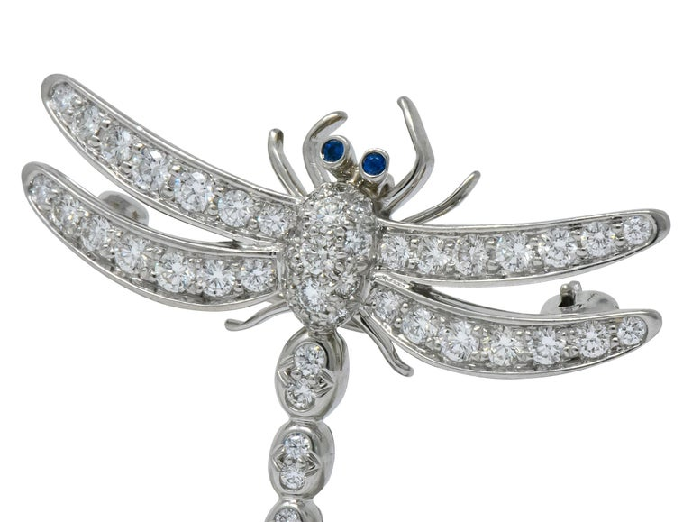 Women's or Men's Tiffany & Co. 1.40 Carat Diamond Platinum Tiffany Enchanted Dragonfly Pedant Pin For Sale