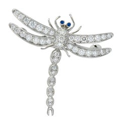 Tiffany & Co. 1.40 Carat Diamond Platinum Tiffany Enchanted Dragonfly Pedant Pin
