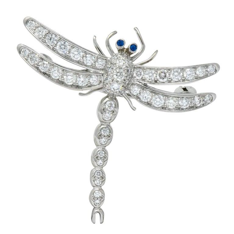 Tiffany & Co. 1.40 Carat Diamond Platinum Tiffany Enchanted Dragonfly Pedant Pin For Sale