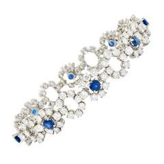 Tiffany & Co. 14.16 Carat Diamond Sapphire Platinum Cluster Link Bracelet
