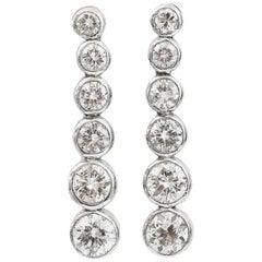 Tiffany & Co. 1.45 Carat Platinum Diamond Drop Jazz Earrings in a Tiffany Box