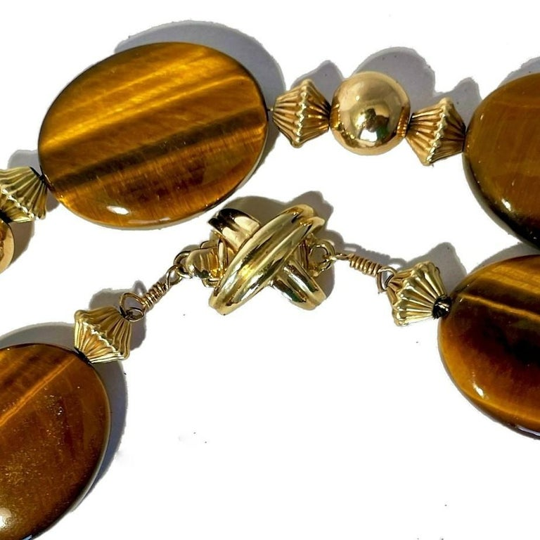 Tiffany & Co. 14K Gold and Tiger's Eye Long Necklace In Good Condition For Sale In Palm Beach, FL