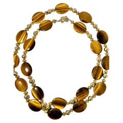Tiffany & Co. 14K Gold and Tiger's Eye Long Necklace