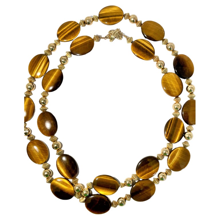 Tiffany & Co. 14K Gold and Tiger's Eye Long Necklace For Sale
