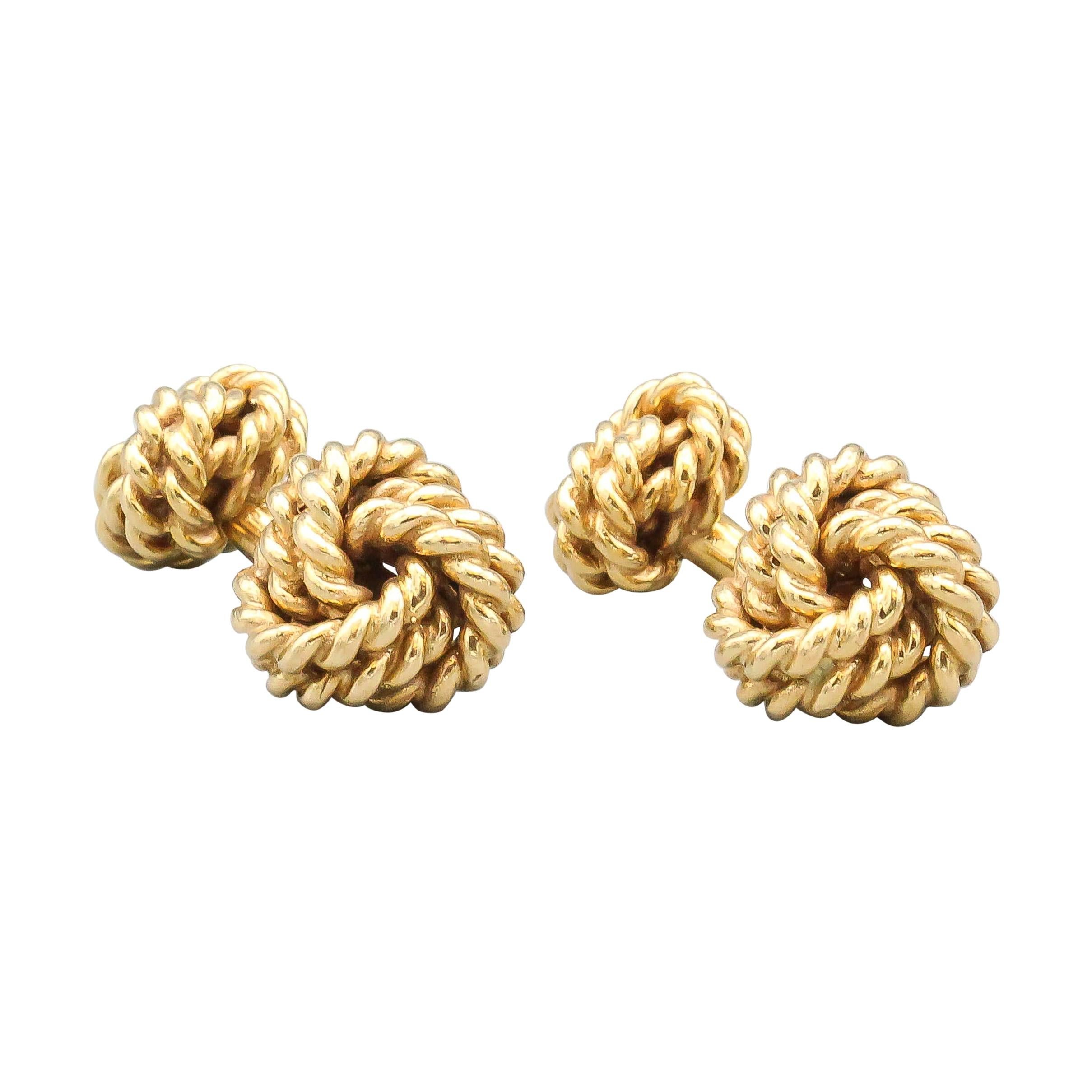 Tiffany & Co. 14k Gold Rope Knot Cufflinks