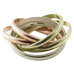 Tiffany & Co. 14 Karat Tri-Color Gold Ribbed Double Trinity Roller Ring