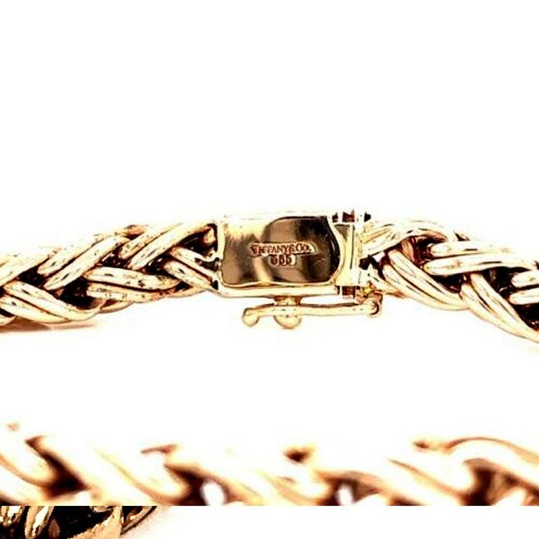 Modern Tiffany & Co. 14 Karat Yellow Gold Bracelet Woven Wheat Byzantine Clasp 22g