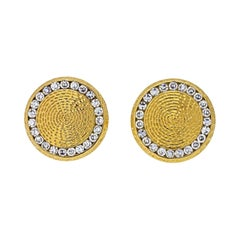 Tiffany & Co. 14K Yellow Gold Diamond Circle Cuff Links