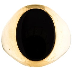 Tiffany & Co. 14k Yellow Gold & Onyx Signet Ring Vintage