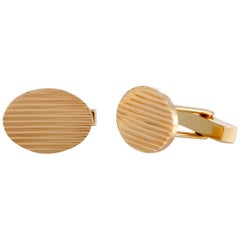Tiffany & Co. 14 Karat Yellow Gold Oval Stripes Cufflinks