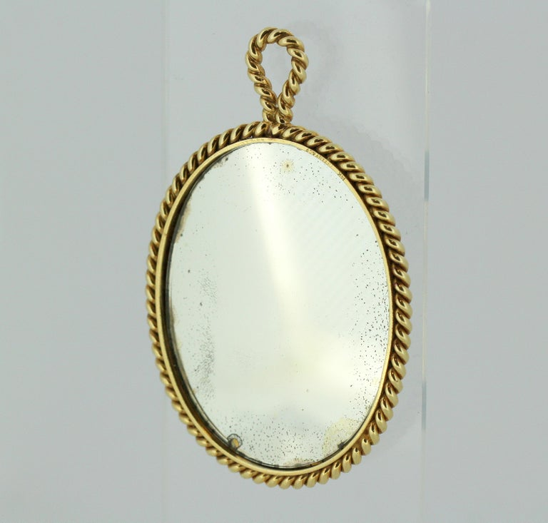 Women's or Men's Tiffany & Co. 14 Karat Gold Mirror and Pendant, USA, circa 1940s For Sale
