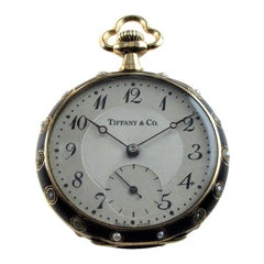 Tiffany & Co. 14kt Solid Gold Ladies Enameled Pendant Watch with Matted Finish