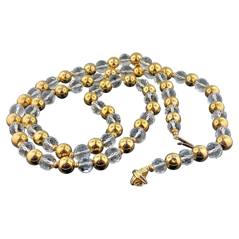 Tiffany & Co. 14KT Yellow Gold and Quarts Beaded Necklace For Sale
