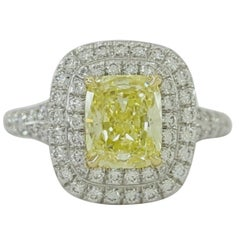 Tiffany & Co. 1.51 Carat Natural Fancy Yellow Soleste Engagement Ring Platinum
