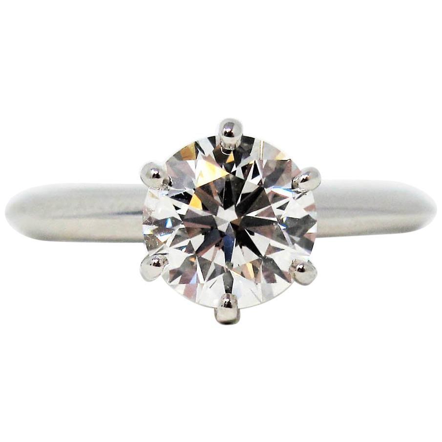 Tiffany & Co 1.52 Carat Round Brilliant Solitaire Engagement Ring Platinum G VS1