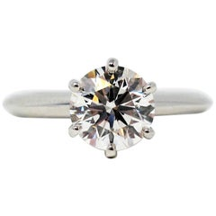 Tiffany & Co 1.52 Carat Round Brilliant Solitaire Engagement Ring Platinum G VS1