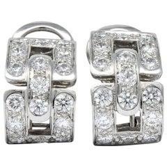 Tiffany & Co. 1.60 Carat Diamond Platinum Link Earrings
