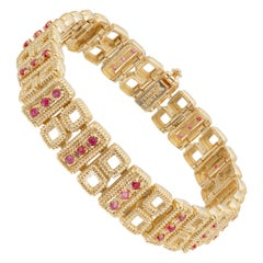 Tiffany & Co. 1.60 Carat Ruby Yellow Gold Link Bracelet
