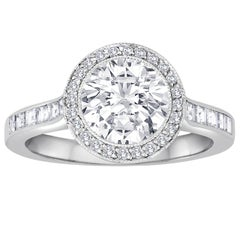 Tiffany & Co. 1.67 Carat F VVS2 Diamond Platinum Ring