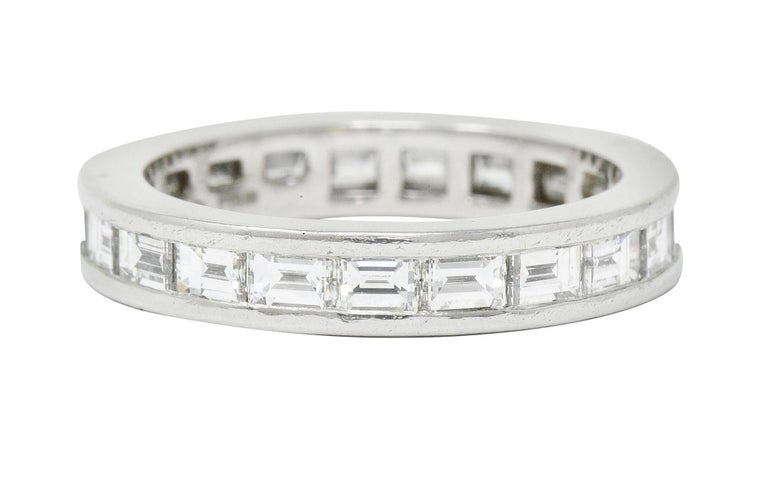 Baguette Cut Tiffany & Co. 1.68 Carat Diamond Platinum Channel Eternity Band
