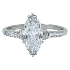 Tiffany & Co. 1.69 Carat Art Deco Marquise Cut Diamond Platinum Engagement Ring