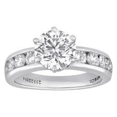 Tiffany & Co. 1.71 Carat F IF Diamond Platinum Ring