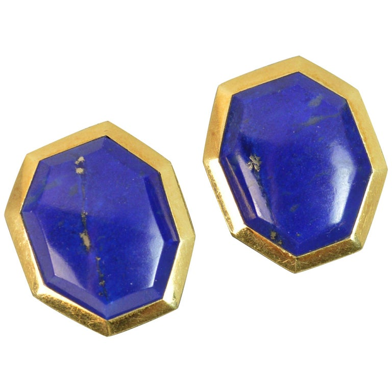 Tiffany & Co. 18 Carat Gold and Lapis Lazuli Large Vintage Clip-On Earrings For Sale