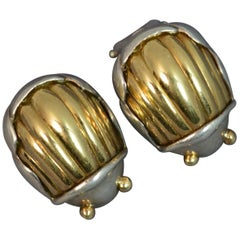 Tiffany & Co. 18 Carat Gold Silver Clip on Earrings Scarab Beetle
