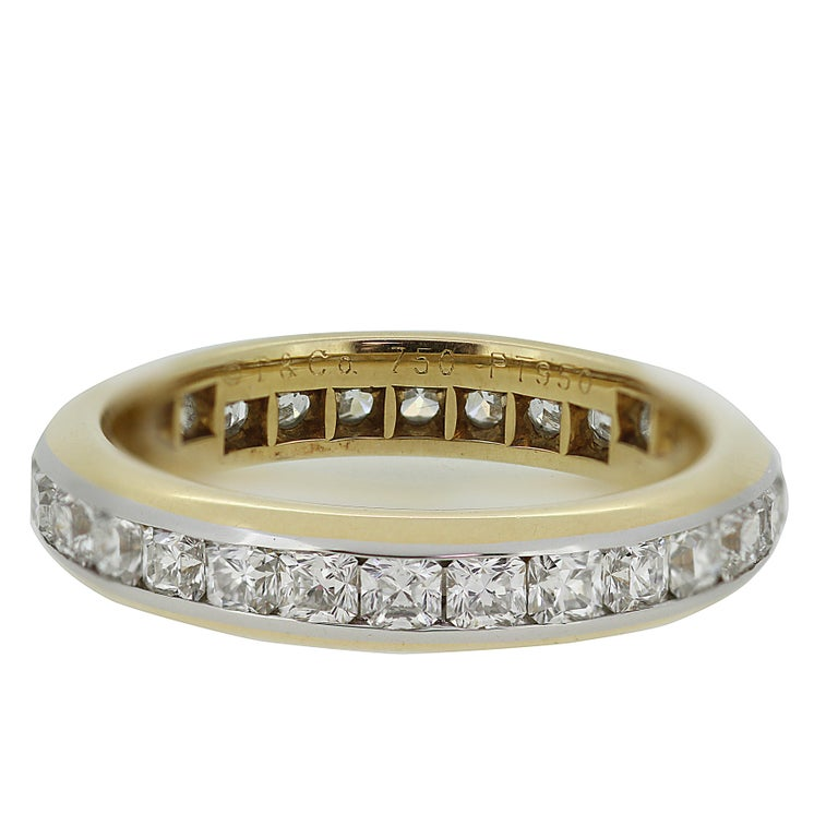 A gorgeous Lucida full eternity ring in 18ct gold and platinum by Tiffany & Co. The ring is set through the centre with 28 Lucida brilliant-cut diamonds. Total diamond weight 1.37 ct. Assessed colour G/H, Assessed clarity VS.  The ring comes