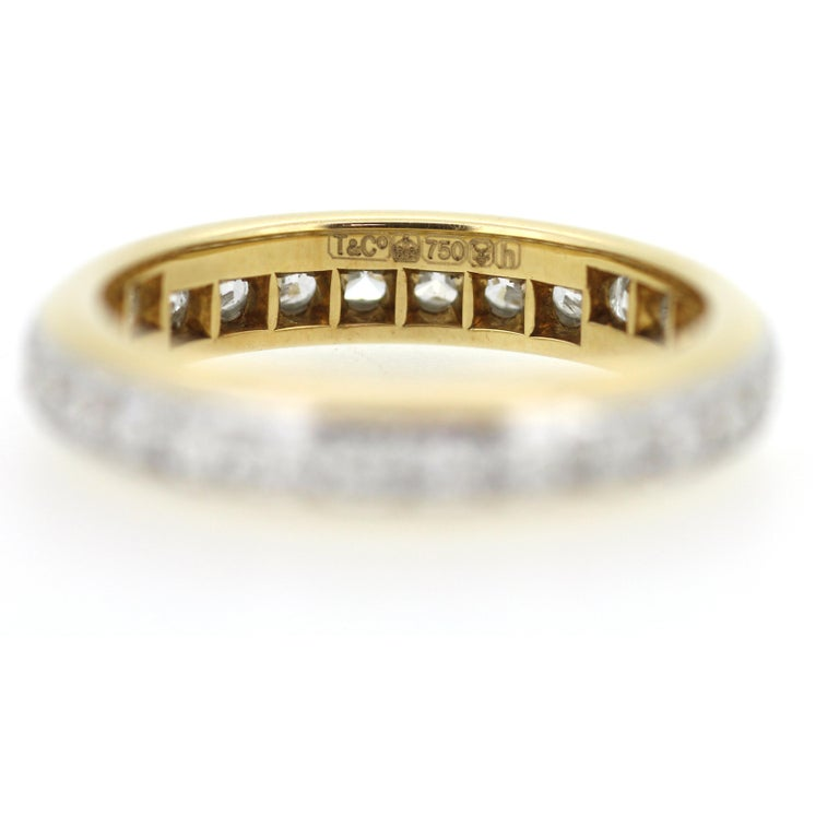 Modern A Tiffany & Co. 18ct Yellow Gold and Platinum Lucida Diamond Eternity Ring For Sale