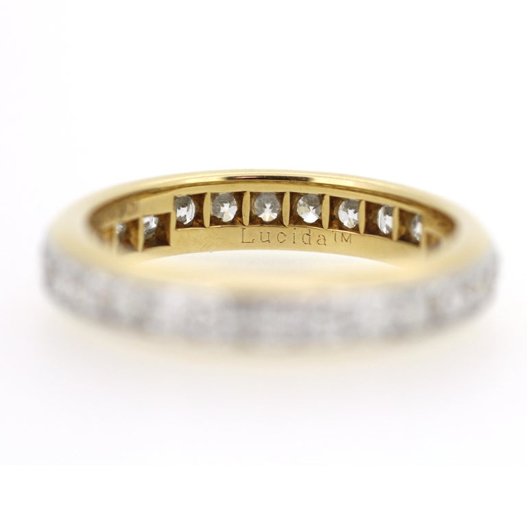 Princess Cut A Tiffany & Co. 18ct Yellow Gold and Platinum Lucida Diamond Eternity Ring For Sale