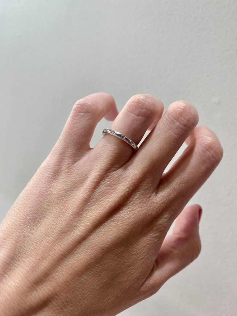 Tiffany & Co. .18 Ctw Diamonds Platinum Bezet Ring In New Condition For Sale In Houston, TX