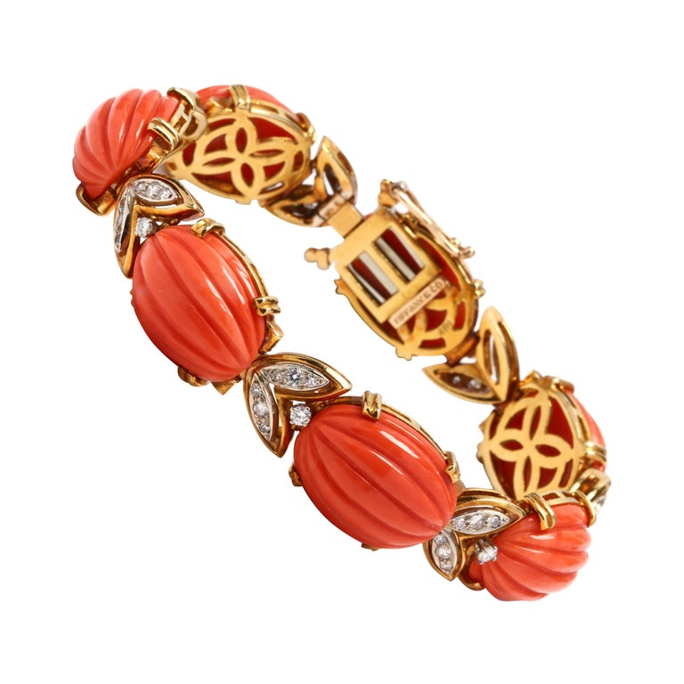 Tiffany & Co. 18 Karat Bi-Color Gold Coral and Diamond Bracelet, circa 1970s