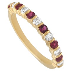Tiffany & Co. 18 Karat Gold 0.20 Carat Diamond and 0.20 Carat Ruby Band Ring