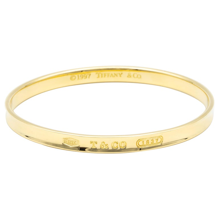"Tiffany & Co. 18 Karat Gold ""1837"" Collection Bangle Bracelet For Sale"