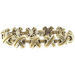 Tiffany & Co. 18 Karat Gold 925 Silver Signature X Link Bracelet