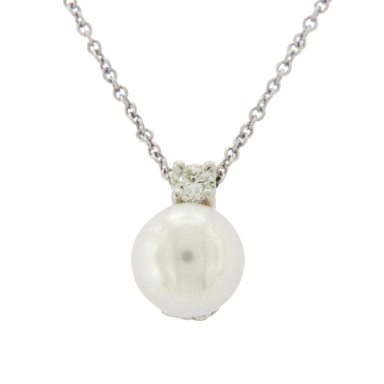 cea65293b Tiffany & Co. 18 Karat Gold Akoya Pearl 0.10 Carat Diamond Necklace For Sale