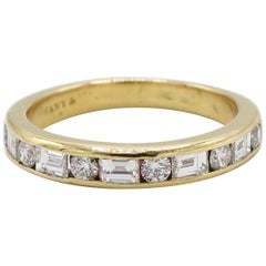 Tiffany & Co. 18 Karat Gold Alternating Round and Baguette Diamond Band Ring