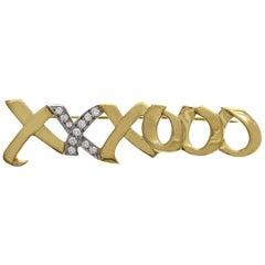 Tiffany & Co. 18 Karat Gold and Diamond Paloma Picasso XXXOOO Pin Brooch