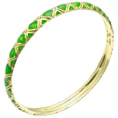 Tiffany & Co. 18 Karat Gold and Green Enamel Bangle Bracelet