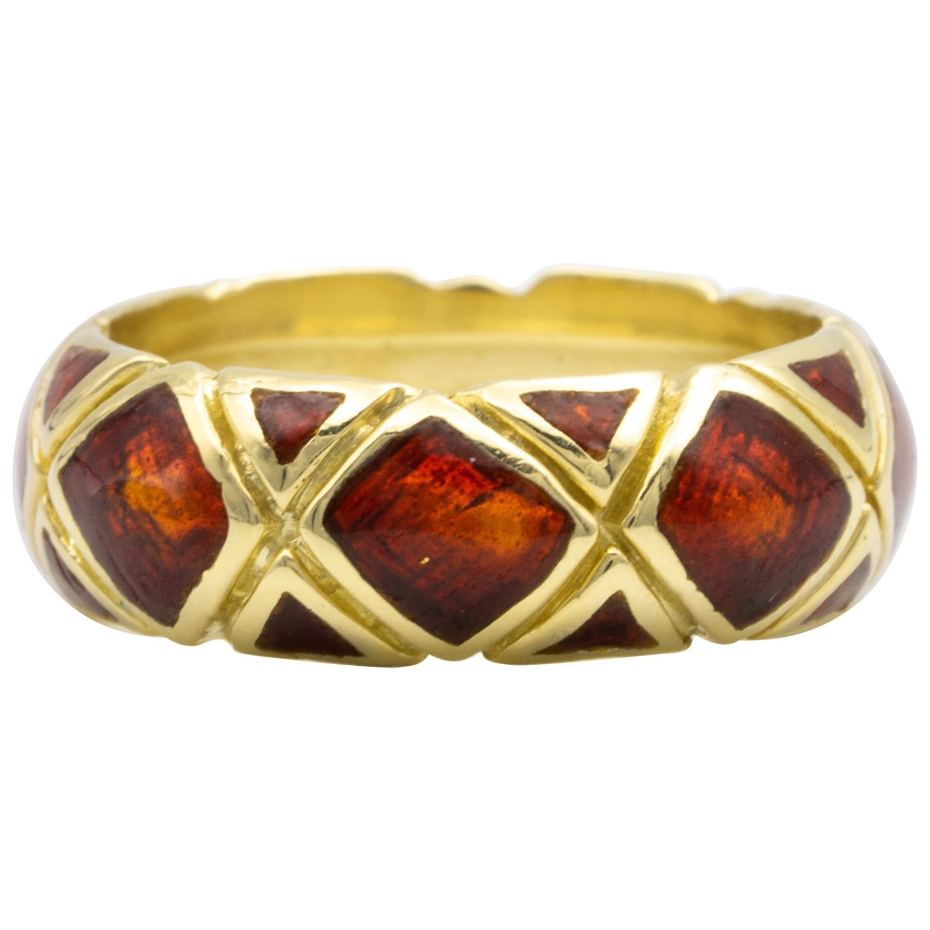 Tiffany & Co. 18K Yellow Gold and Red Enamel Band Ring, circa 1960s