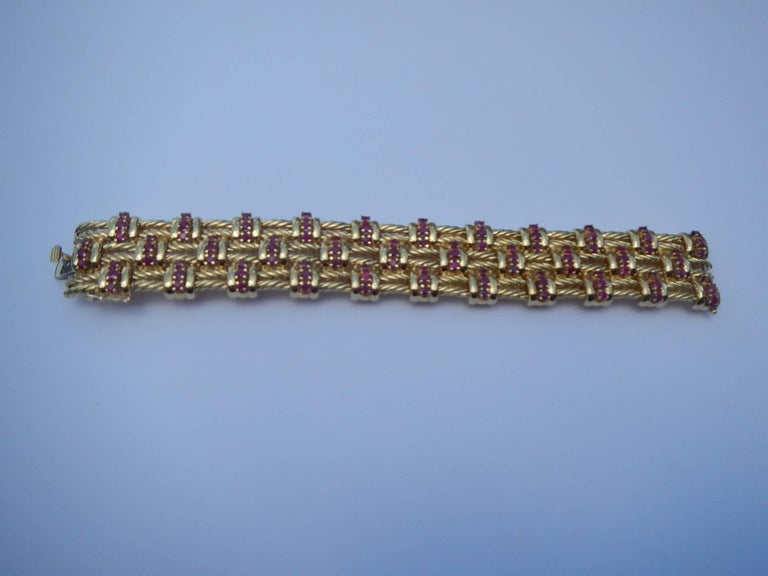 American Classical Tiffany & Co. 18 Karat Gold and Ruby Bracelet For Sale