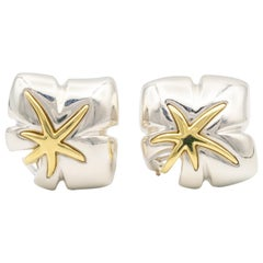 Tiffany & Co. 18 Karat Gold and Silver Leaf Motif Clip Earrings