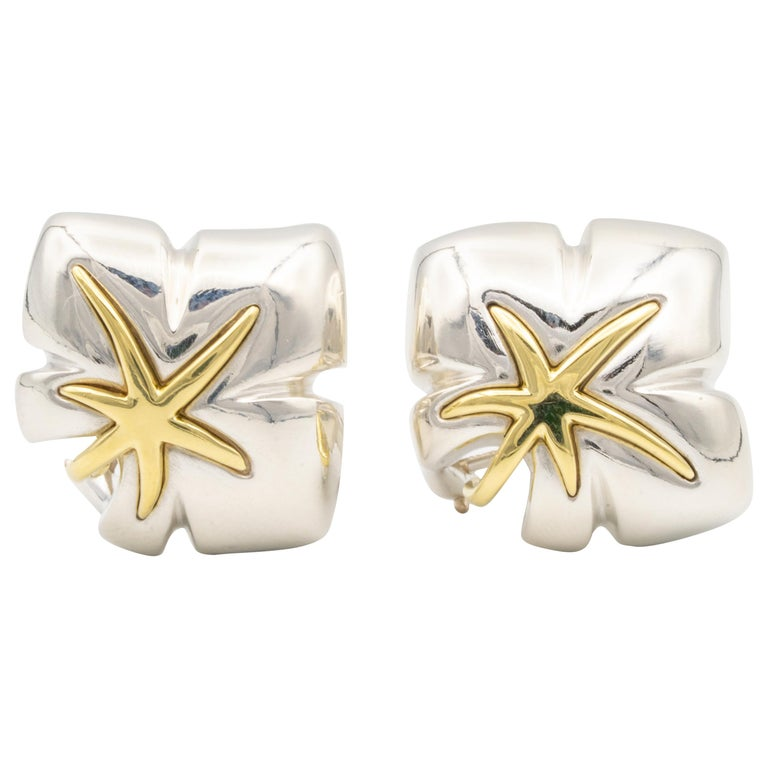 Tiffany & Co. 18 Karat Gold and Silver Leaf Motif Clip Earrings For Sale
