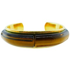 Tiffany & Co. 18 Karat Gold and Tiger Eye Bamboo Collection Bangle, circa 2002