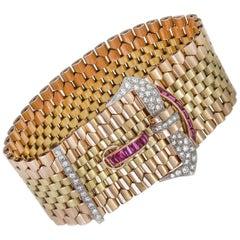 Tiffany & Co. 18 Karat Gold Belt Style Bracelet with Rubies and Diamonds