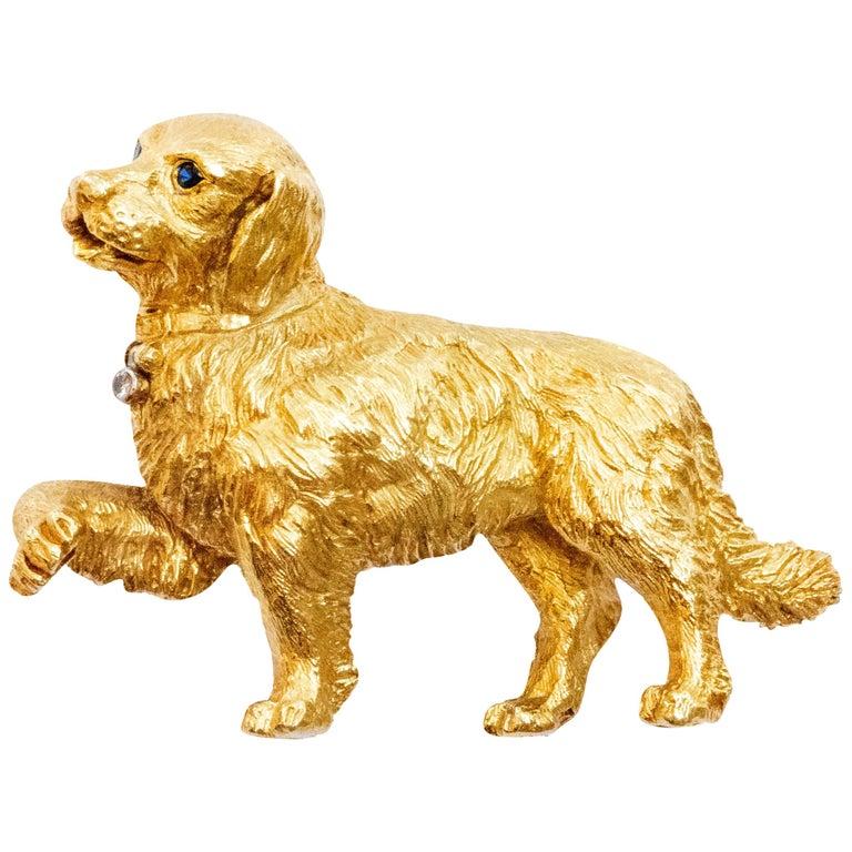 Tiffany & Co. 18 Karat Gold Brooch Sapphire Eyes and Diamond Collar Dog For Sale